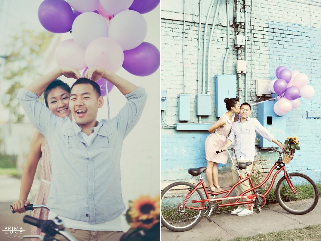 Engagement Photo   Austin, Texas   Balloons   Couple   Bicycle   Heart   Photo by Prima Luce Studio