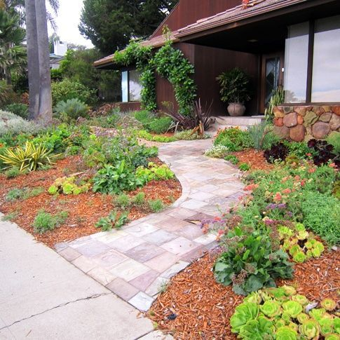 front yard with no grass. why mow? | Backyard landscaping ... on No Mow Backyard Ideas id=65671