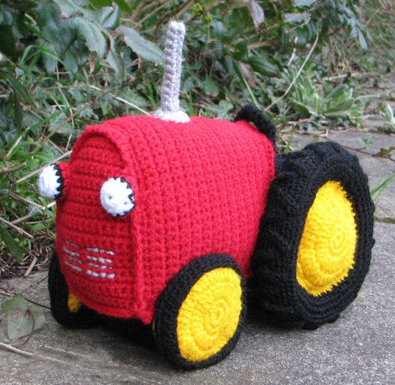 Crochet Pattern For Soft Toy Tractor Instant Download Pdf