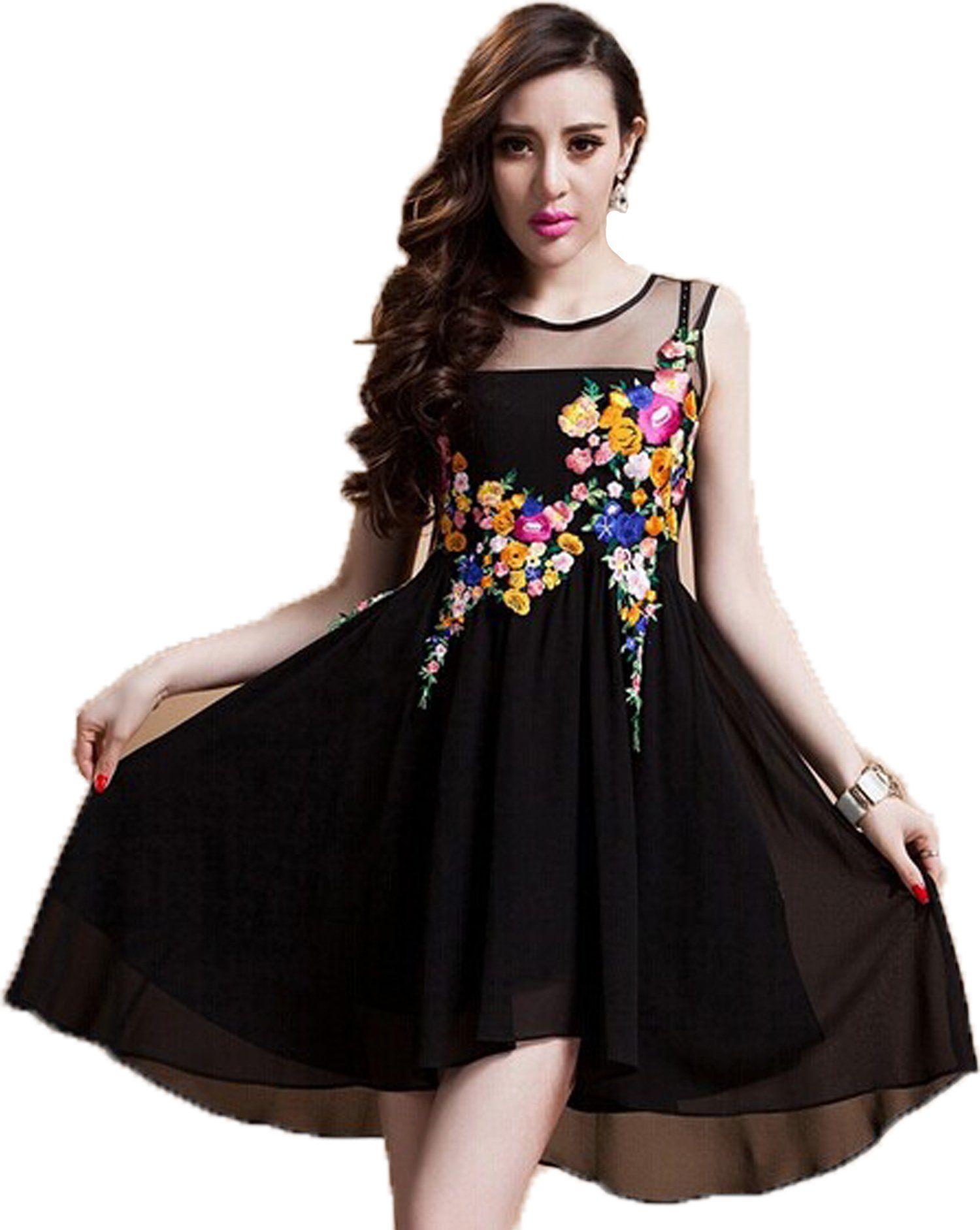 Amazon new arrival womenus dress ladiesu mesh dress embroidered