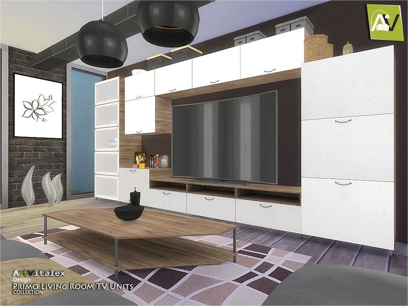 Primo living room tv units found in tsr category 39 sims 4 for Channel 4 living room ideas