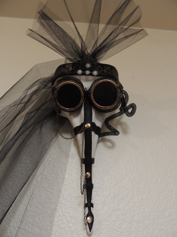 Venetian Masquerade Mask Black mask blue glasses Plague doctor mask Halloween