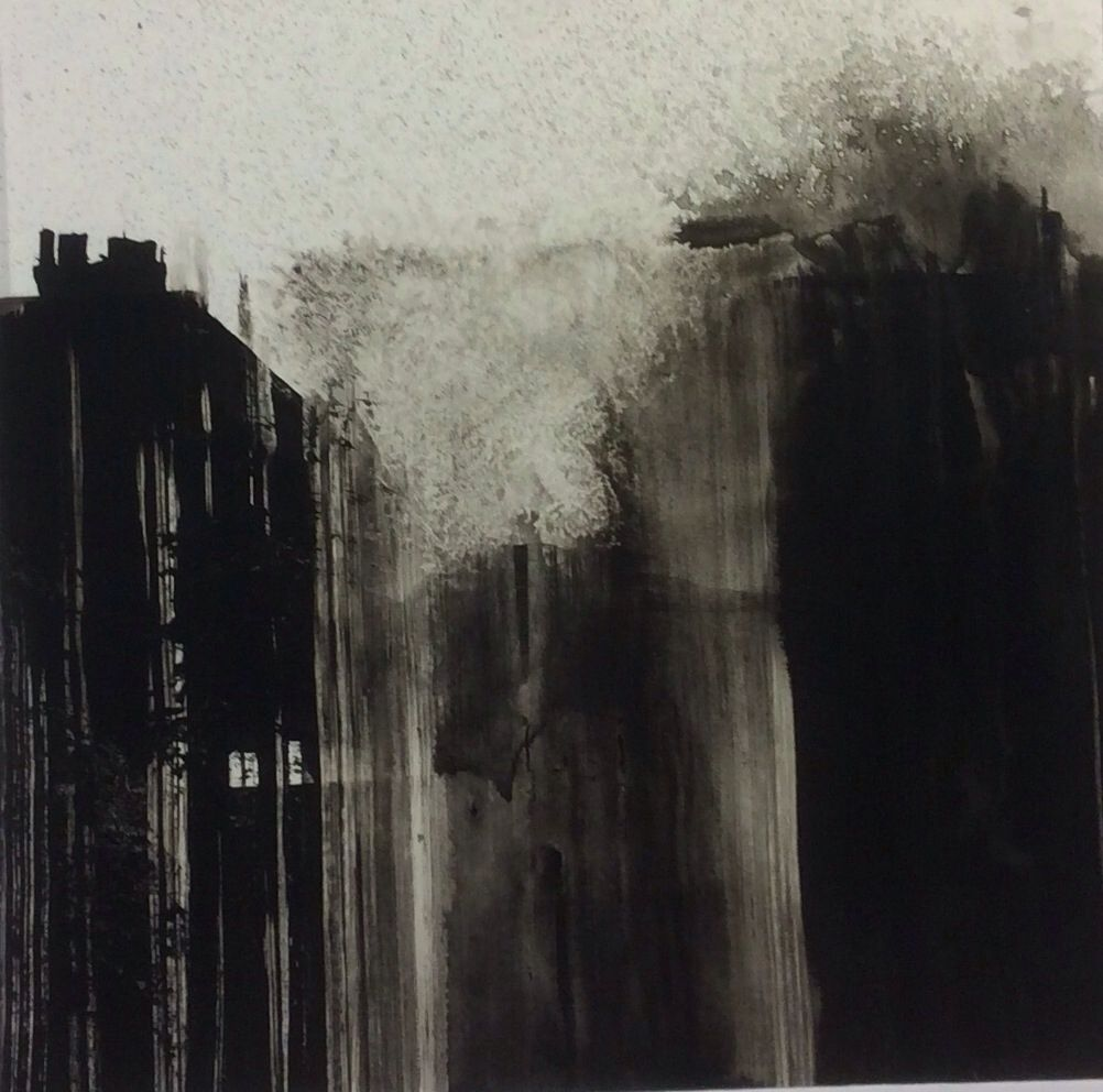 Mills and hills no 23 by tonie rigby sumi ink 15 cm sq
