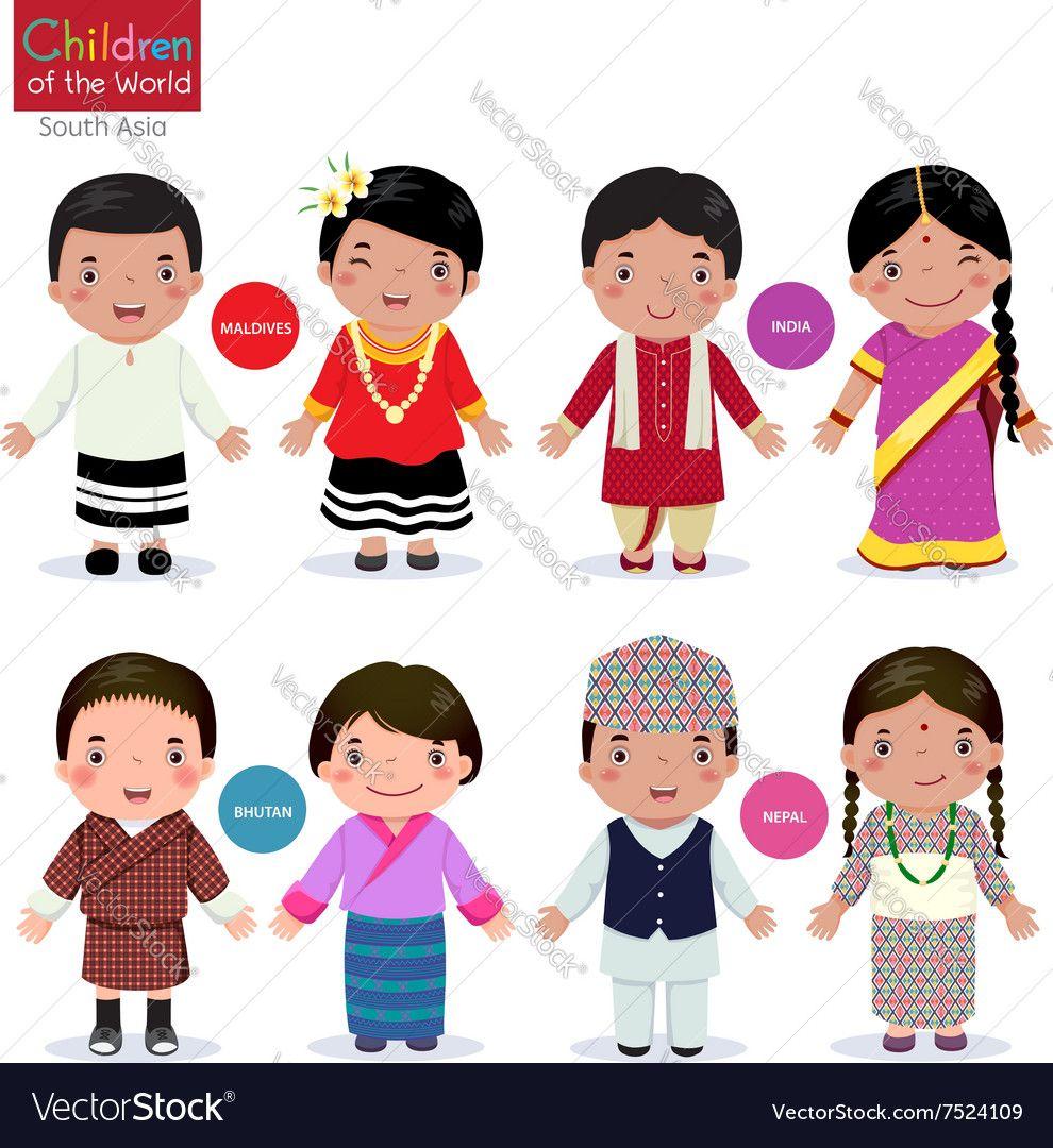 Children Of The World Maldives India Bhutan Nepal Vector Image By Kankhem Costumes Around The World Kids Vector Bhutan
