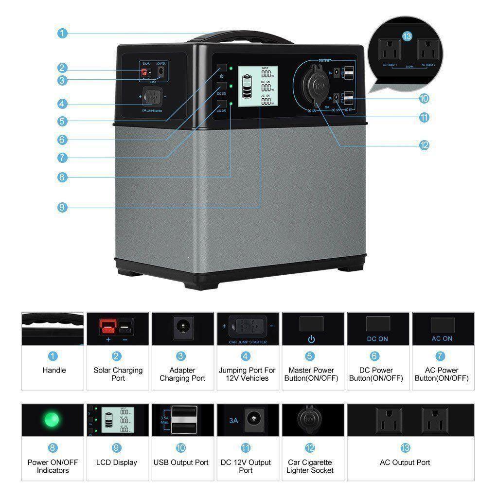 Portable 400wh Solar Power Inverter Generator Supply