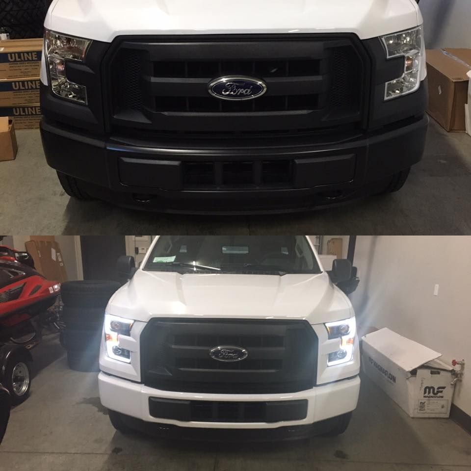 Anzo 111357 Projector Headlights W Plank Style Switchback Black W Amber 2015 2017 Ford F 150 F150 Projector Headlights Ford F150