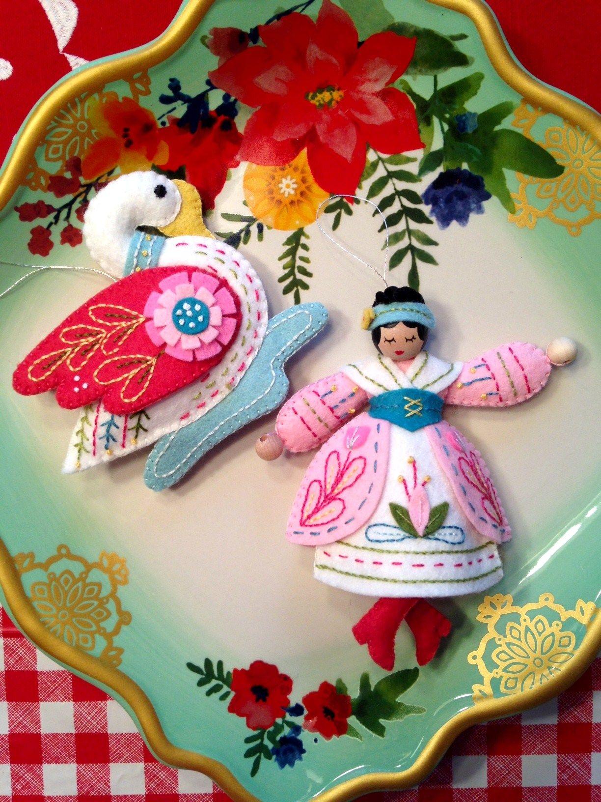 Swan Swimming Lady Dancing Pattern Mmmcrafts Felt Christmas Ornaments Felt Christmas Decorations Handmade Felt Ornament