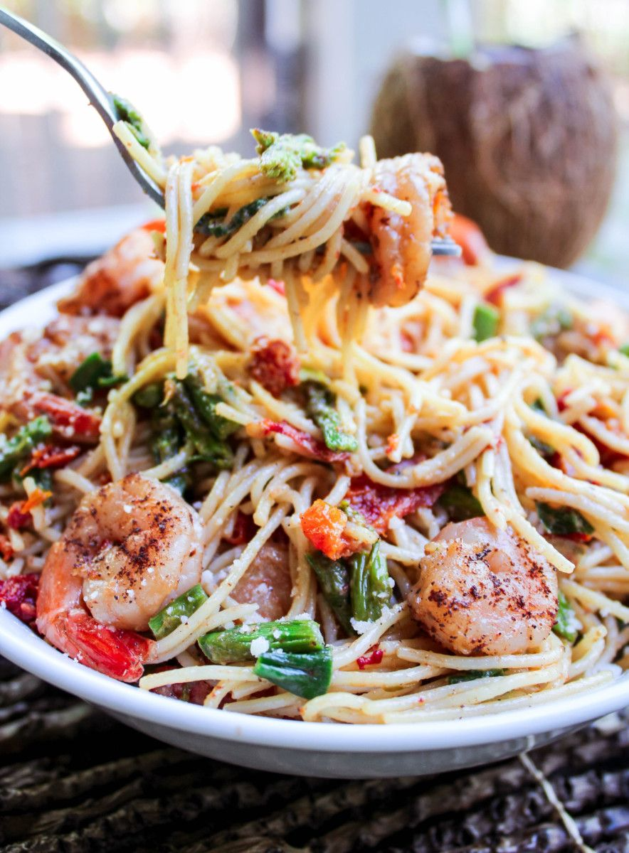 Jerk Shrimp Pasta With Parmesan - Caribbean Scent #jerkshrimp