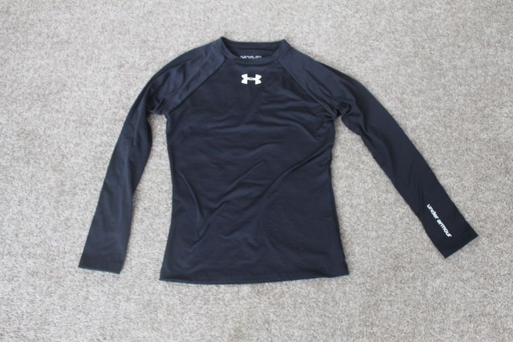 f5d2122d Under Armour Fitted Boys Black Cold Gear Shirt Crew Neck Size Youth ...