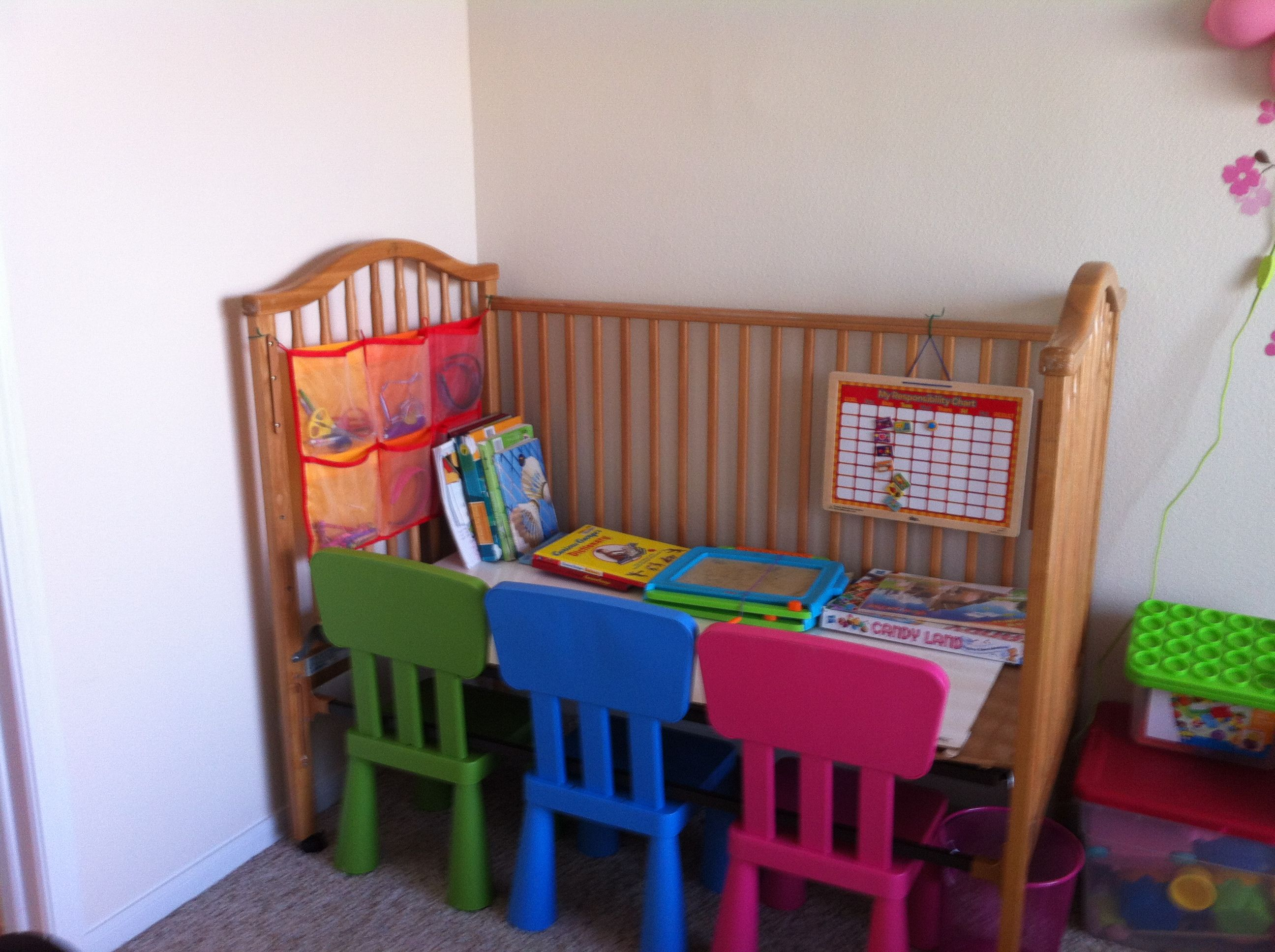 Baby cribs for daycare centers - Old Simmons Crib Converted To Study Corner With A Doubled Up Wooden Marker Board From