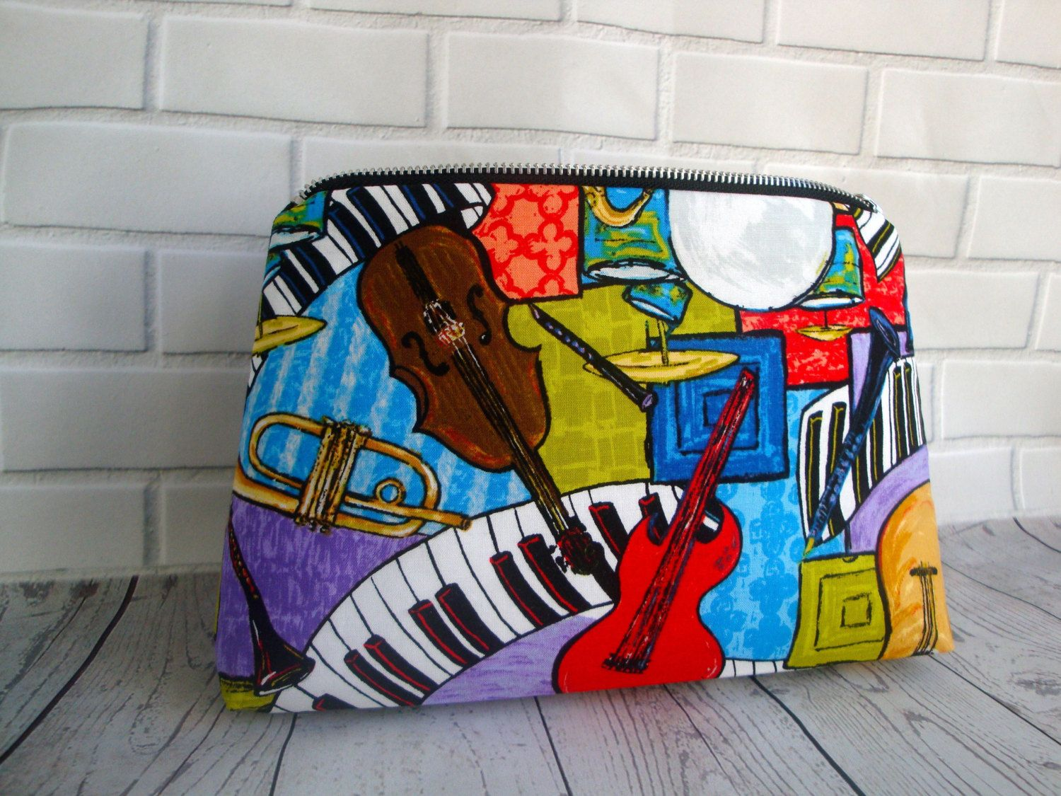 c23fdfbcbe Mens funky guitar Wash Bag - handmade - valentines gift - toiletry bag -  gift- musical fabric - wash bag - unique mens wash bag by GerdaBags on Etsy