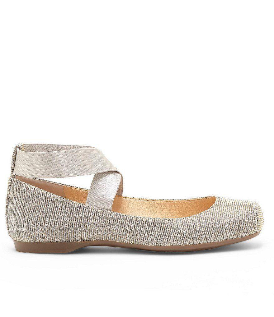 Mandalaye Shimmer Square-Toe Criss Cross Ankle Straps Ballet Flats FvigGa9V