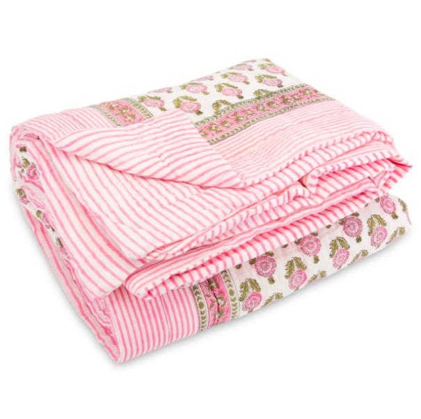 Pink Block Print Quilt