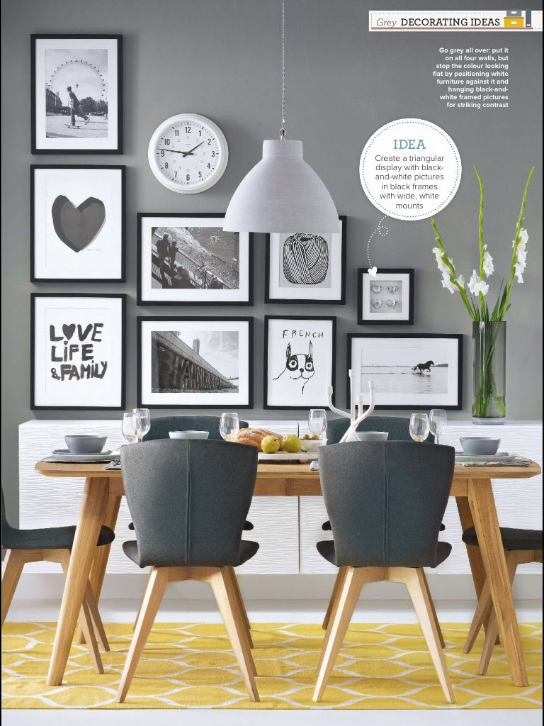 Dining Room Inspiration We Love This Feature Wall With Quirky Prints Featured On Grey The Yellow Geometric Rug Breaks Up Colours And Makes A