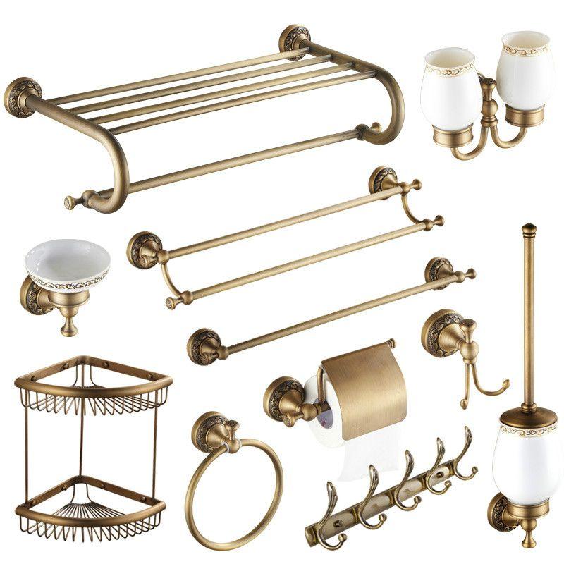 Antique Brushed Brass Bathroom Accessories Sets European Carving Bronze  Bathroom Hardware Set Bathroom Products Rw2