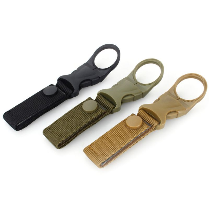 New Tactical Hiking Nylon Webbing Carabiner Water Bottle Holder Buckle Hook Clip