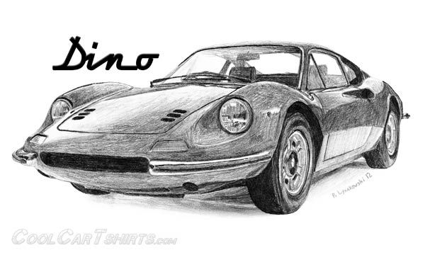 Ferrari Dino Pencil Drawing