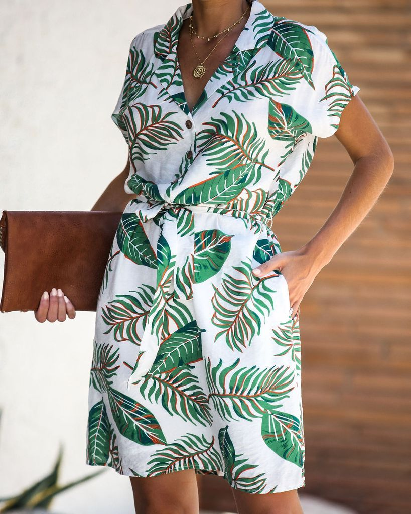 Palm Desert Pocketed Button Down Tie Dress in 2019 | CHASE THE SUN