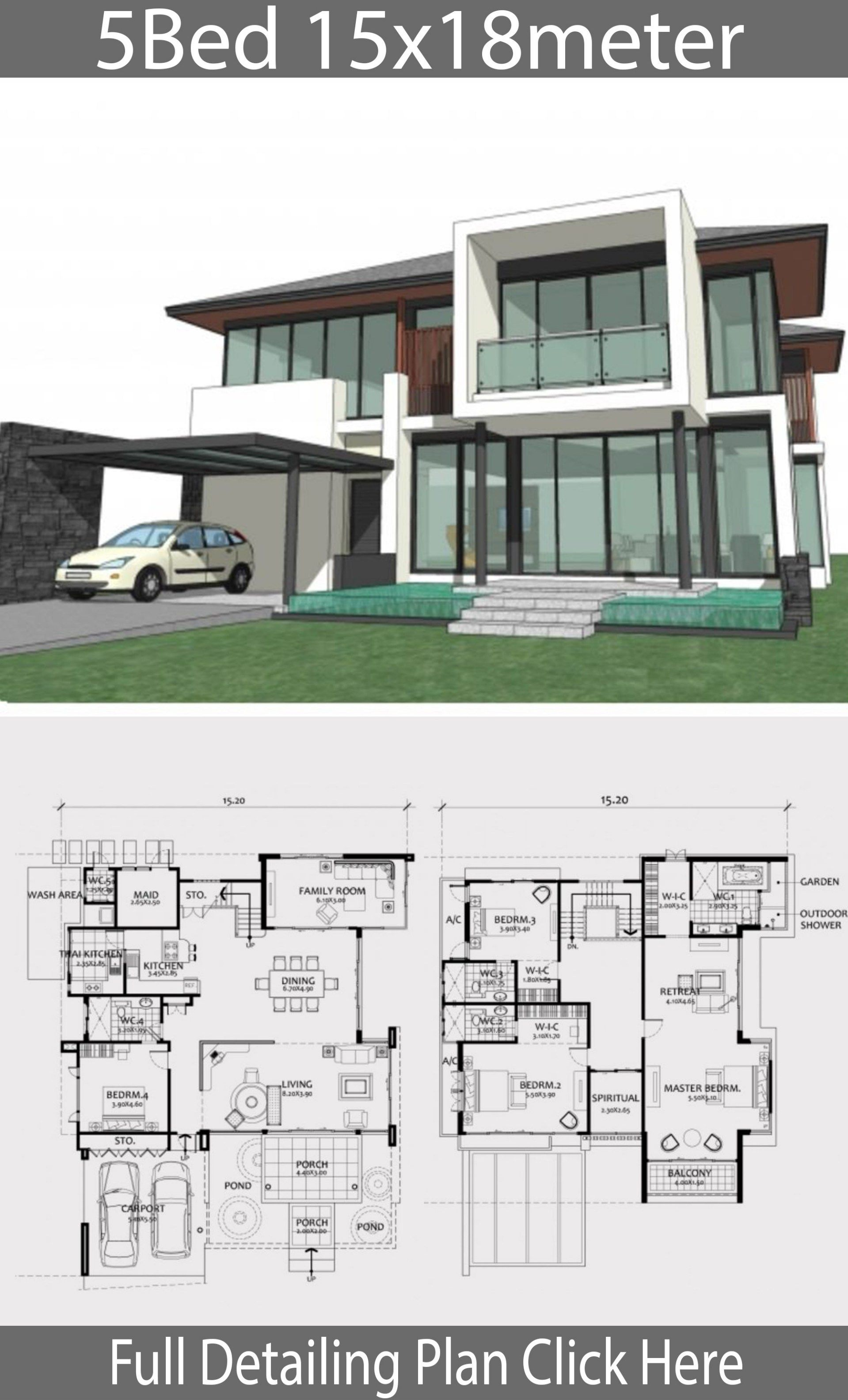Home Design Plan 15x18m With 5 Bedrooms Home Ideas Home Design Plan Model House Plan Bungalow House Design