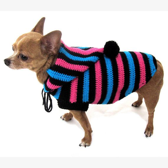 Funny Cute Dog Hoodie Sweater Crochet Knit Black Blue Pink | Dog ...