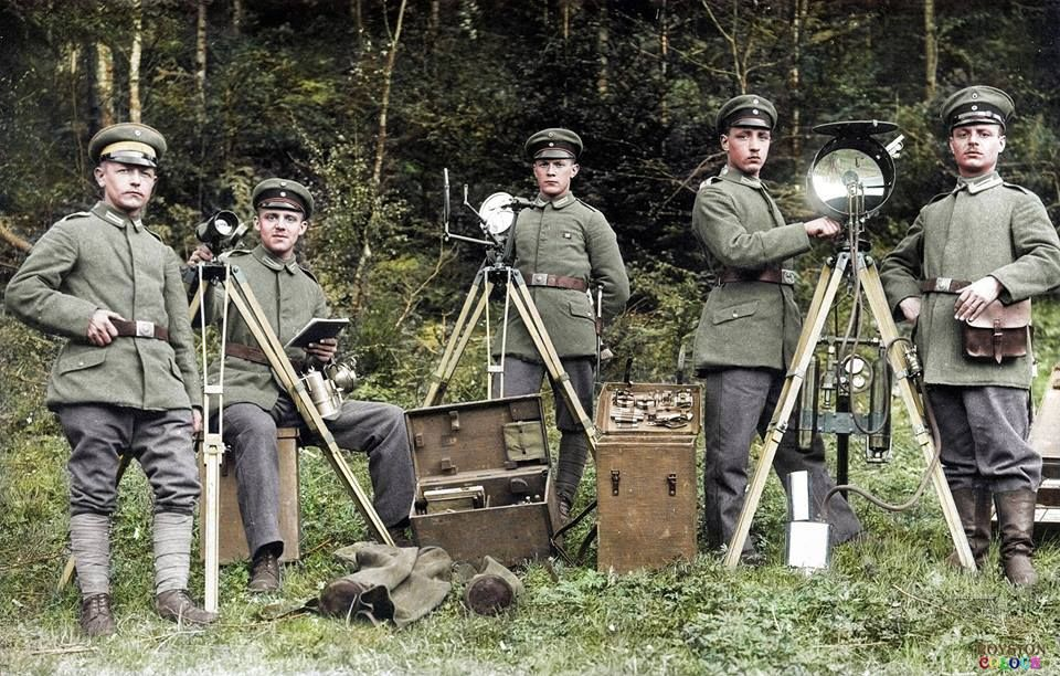 Five German NCOs from the Field Signal Troop #229 with their signalling equipment in the Vosges Mountains, Alsace-Lorraine. May 1917.