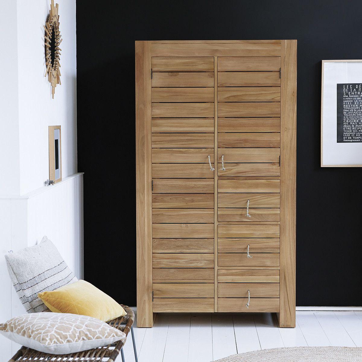 Solid Teak Double Wardrobe 2 Cupboards Natural Wood 180 Cm Bedroom