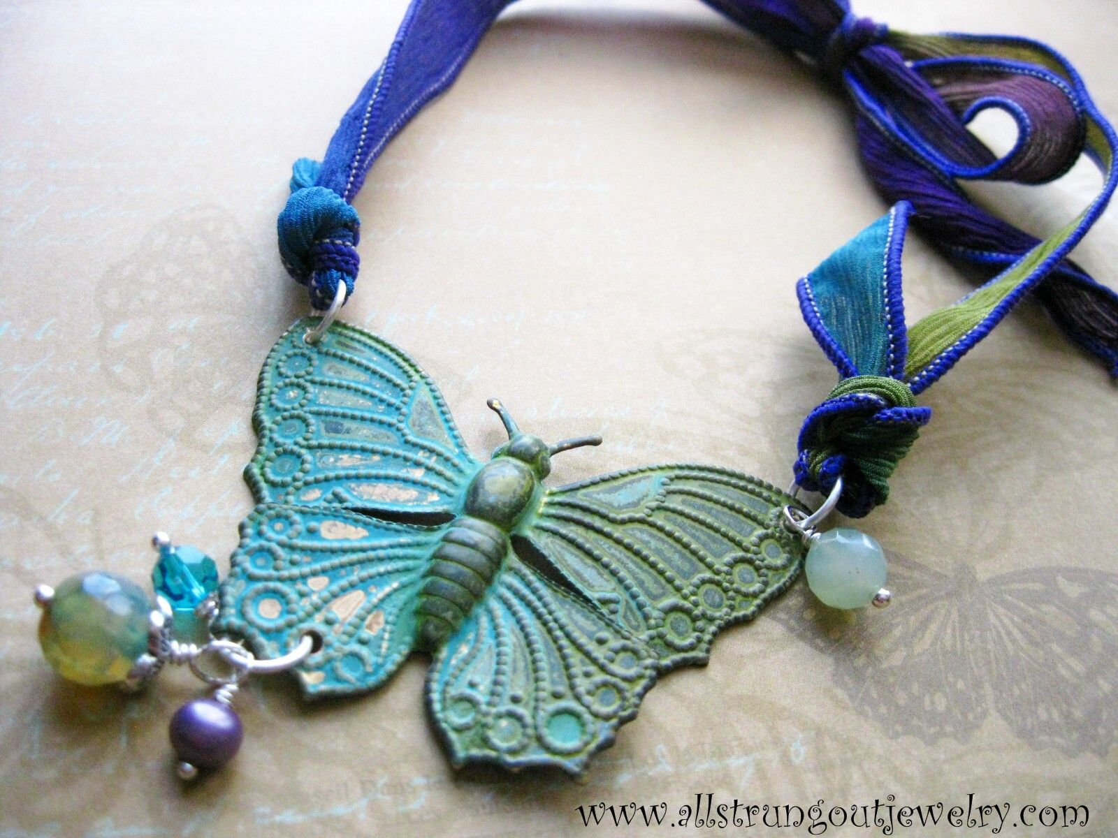 ribbon wing sari silk flight mixed media with winter key recycled necklace pin chain s gears