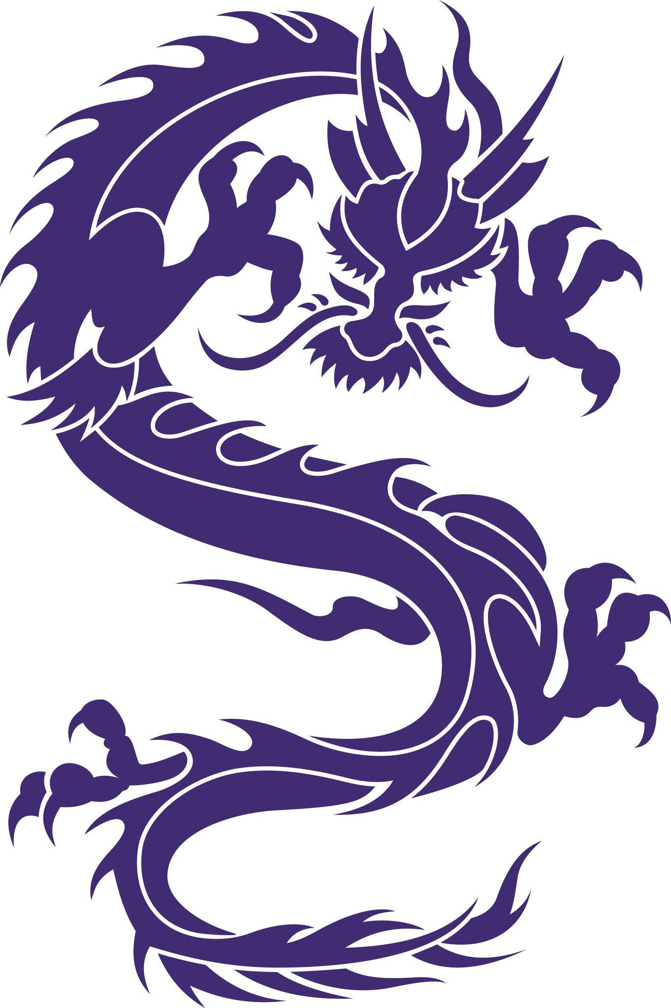 """Asian Japanese Dragon vinyl decal Sizes available Small 6"""" Tall"""