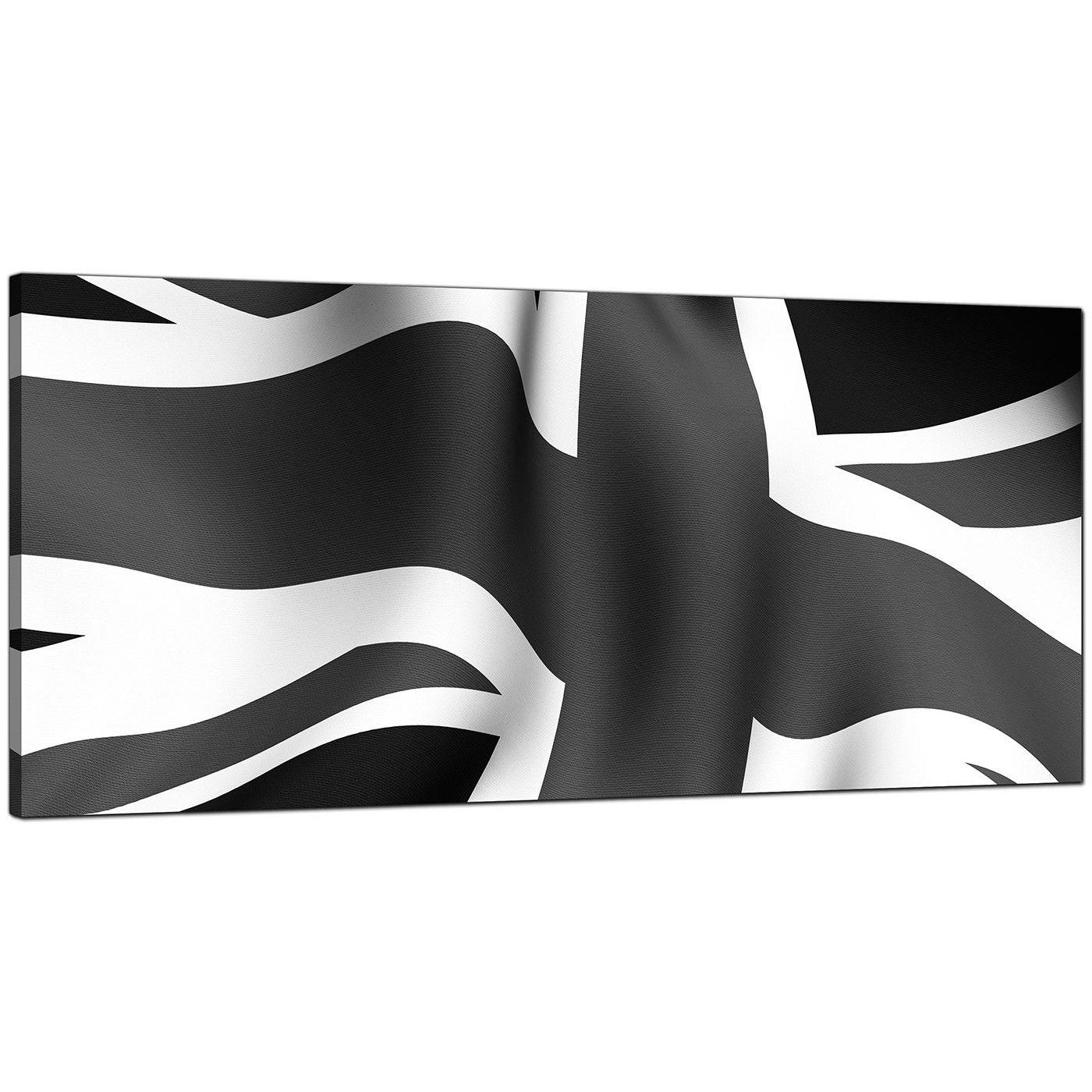Grey Union Jack Flag Framed PANORAMIC CANVAS PRINT Wall Art