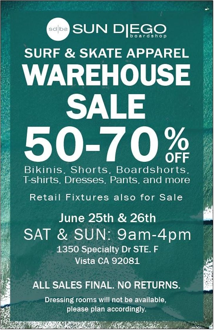 b17e0b94f7 Sun Diego Boardshop Warehouse Sale