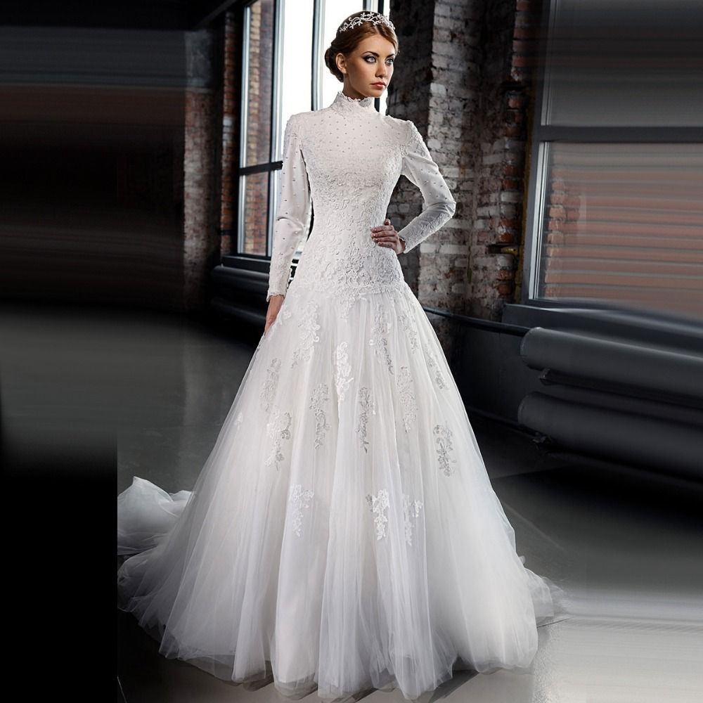 Find More Wedding Dresses Information About Muslim Dropped Waist New Long Sleeve Pearls Lace
