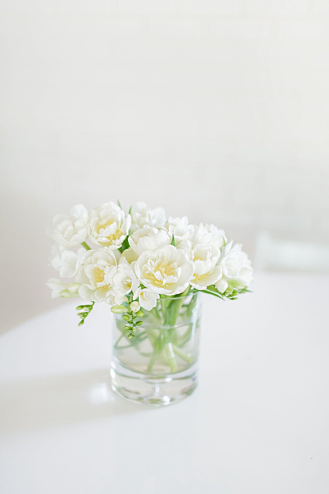 White Freesia In A Vase Life Floral Garden Pinterest
