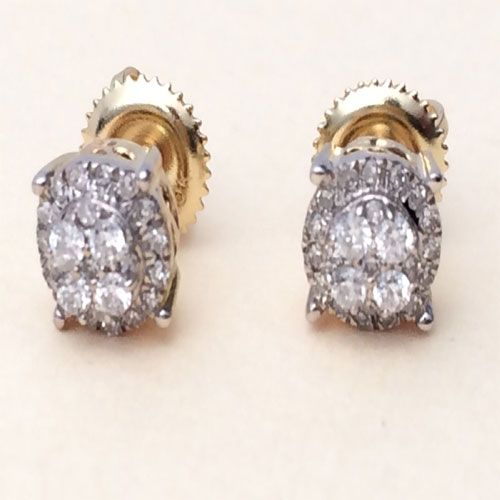 80a032b6e 10K Yellow Gold Diamond Flower Studs Concave Kite Pave Mens Ladies Earrings  by RG&D.....