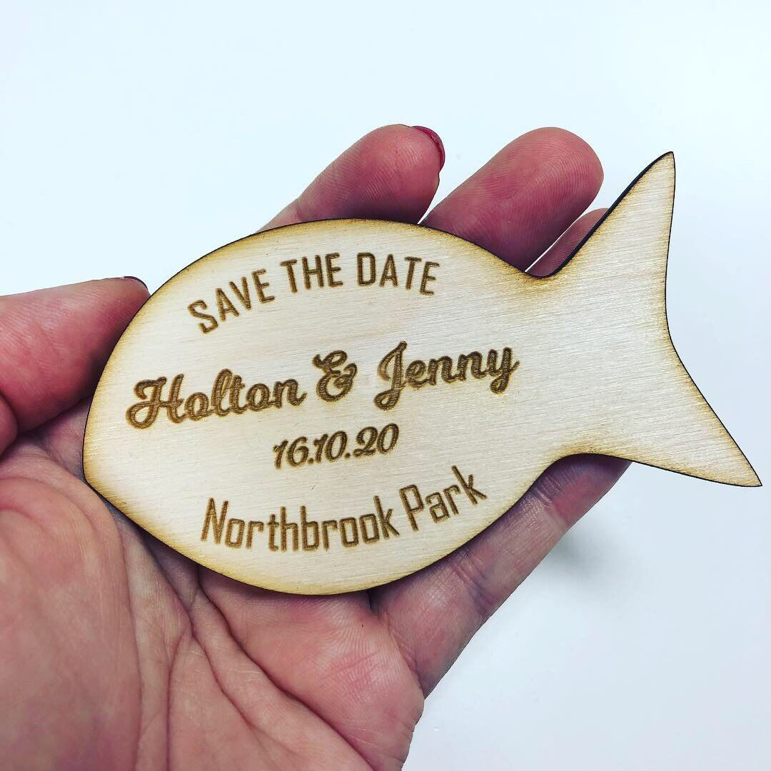 Fish Shape Wood Save The Date Magnets