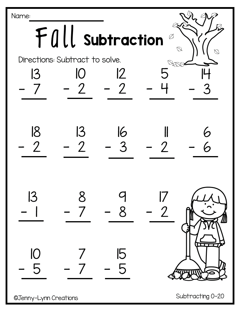 Fall Subtraction   Math addition worksheets [ 1056 x 816 Pixel ]