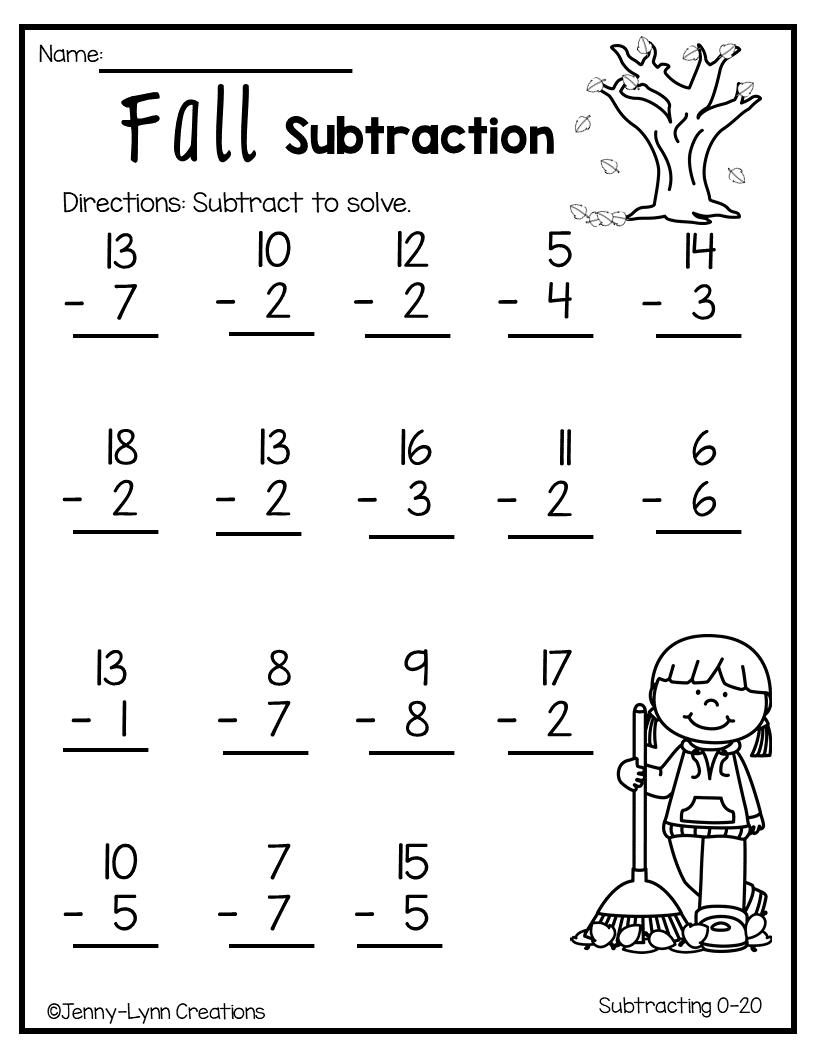 medium resolution of Fall Subtraction   Math addition worksheets