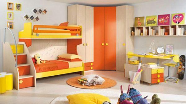 idee kinderzimmer gestaltung gelb orange etagenbett | kinderzimmer, Schlafzimmer entwurf