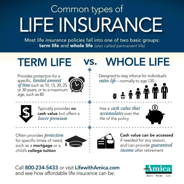 Common Types Of Life Insurance Infographic Whole Life Insurance