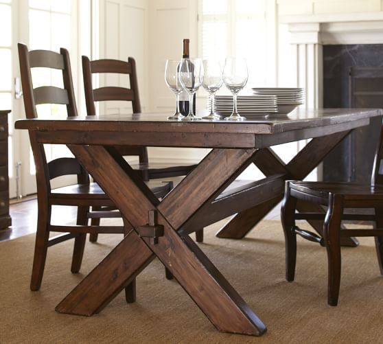 Pottery Barn Farmhouse Furniture: Toscana Fixed Rectangular Dining Table