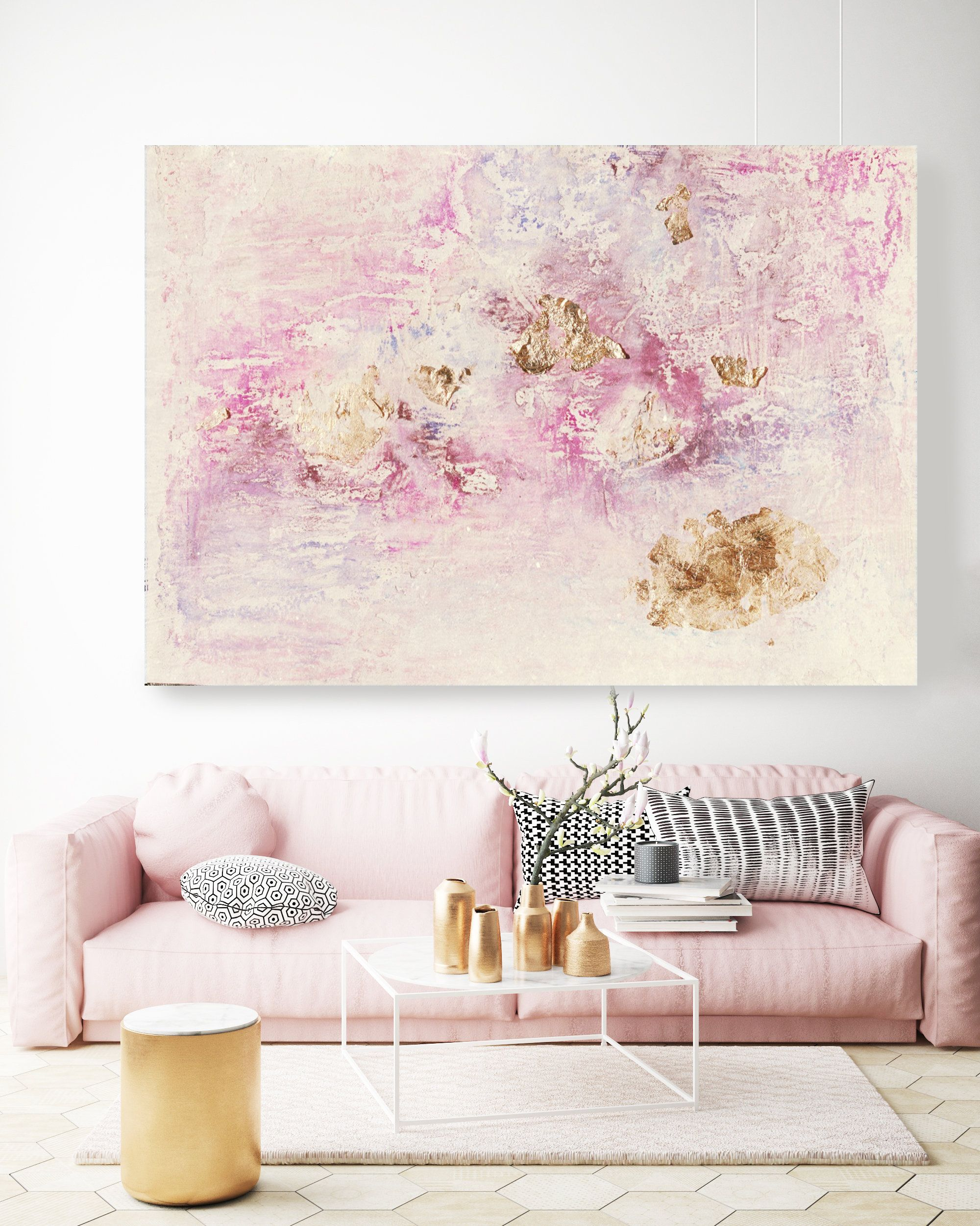 Charming Abstract Painting With Gold Leaf Detailing Pink Etsy Pink Abstract Art Pink Abstract Painting Abstract Art Diy