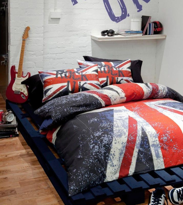 s Union Jack Red Blue Reversible Duvet Cover Bedding Set With Pillowcase