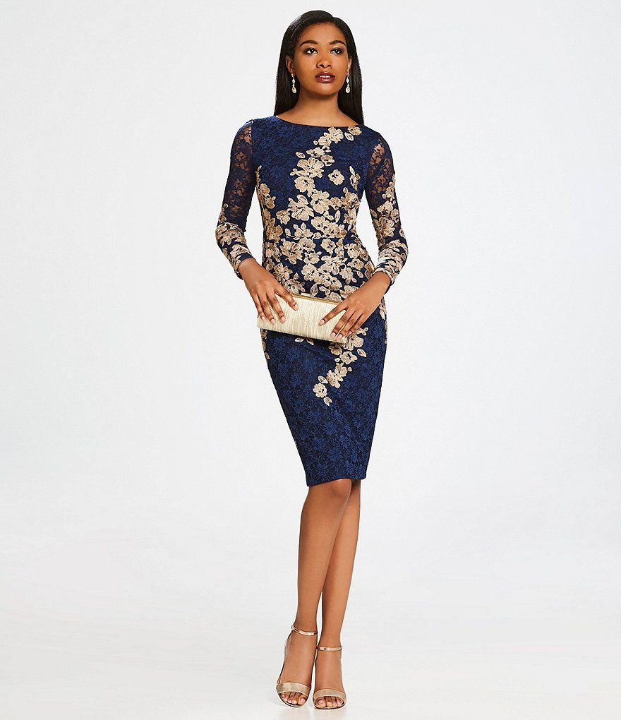 79288835a33 Xscape Embroidered Floral Lace Sheath Dress
