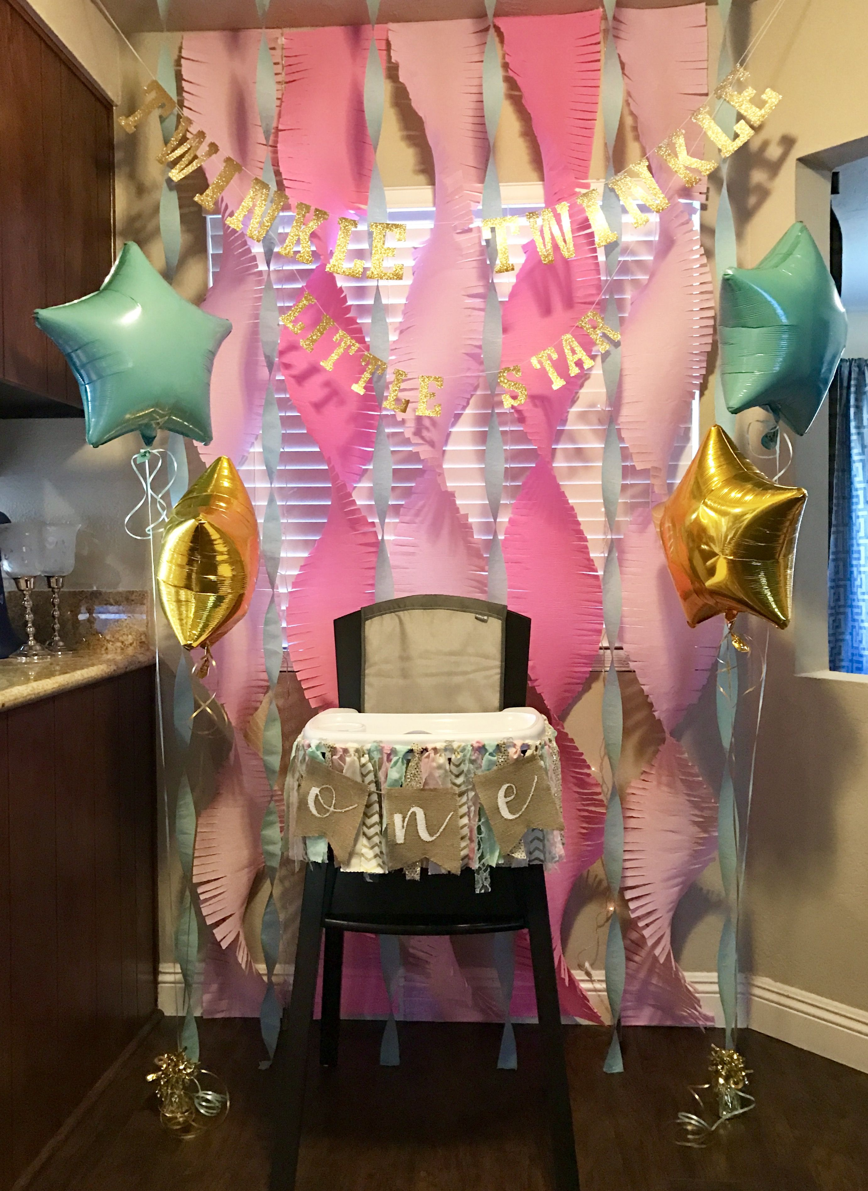 Twinkle Twinkle Little Star First Birthday Decor One Highchair