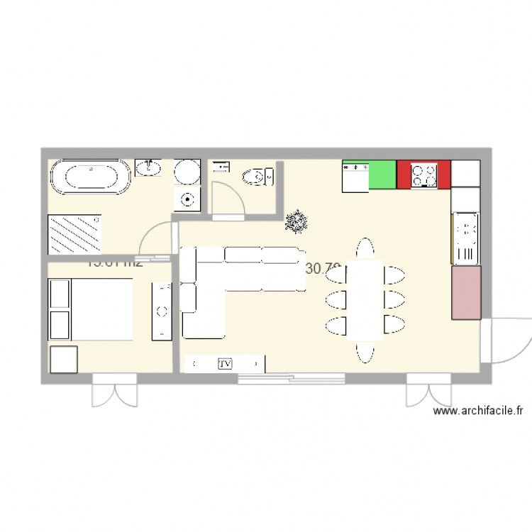 plan db Plan de 2 pièces et 44 m2 maison plan Pinterest - maisons plain pied plans gratuits