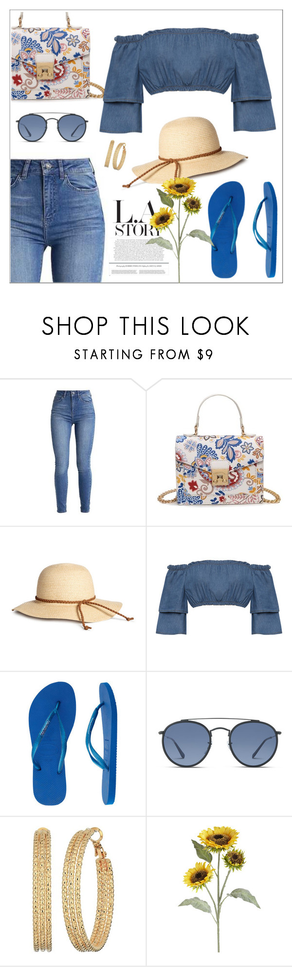 """""""L.A Story"""" by biange ❤ liked on Polyvore featuring WearAll, Havaianas, Ray-Ban, GUESS and Pier 1 Imports"""