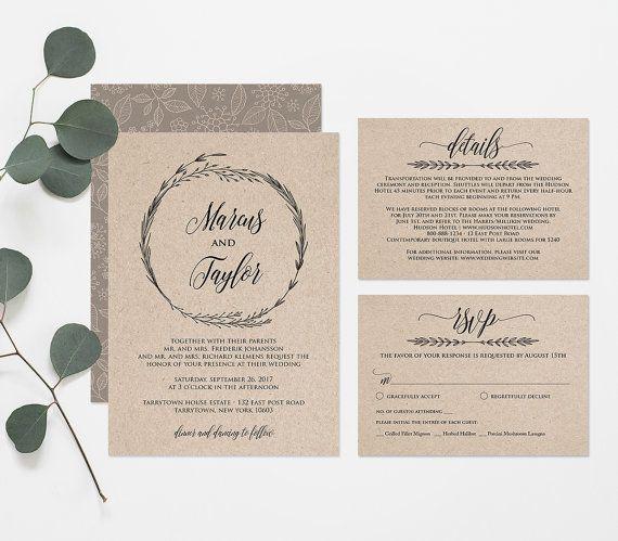 Printable Wedding Invitation Template Rustic Wreath Wedding Etsy Wedding Invitations Printable Templates Wedding Invitation Card Template Postcard Wedding Invitation