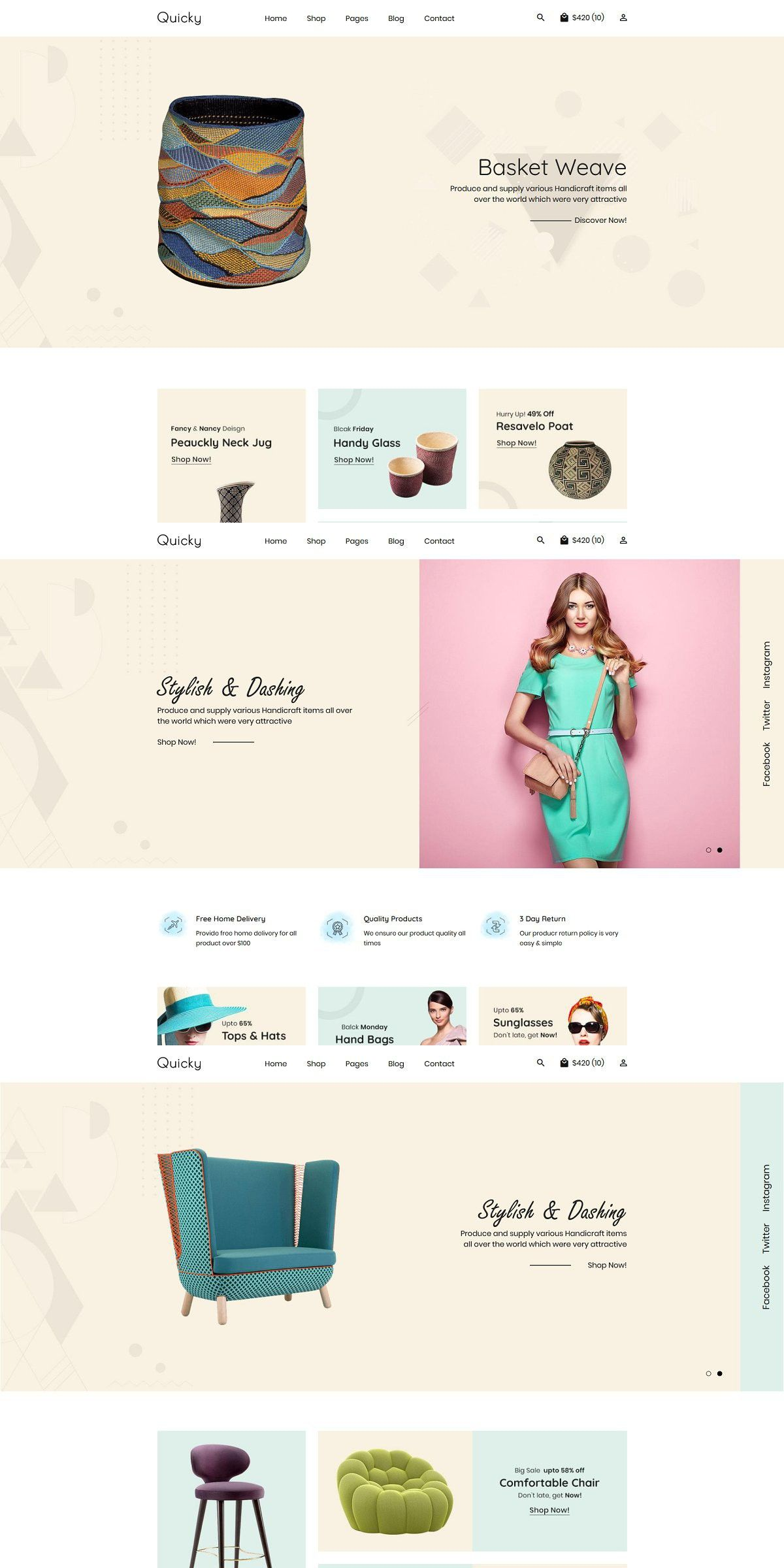 Quicky Minimal Ecommerce Template In 2020 Ecommerce Template Blog Layout Web Graphic Design