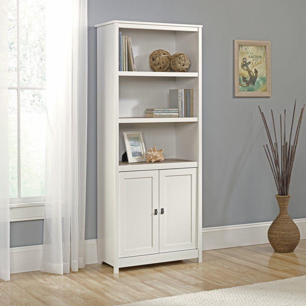 Tall Off White Bookcase Cottage Audio Media Tower Display Storage