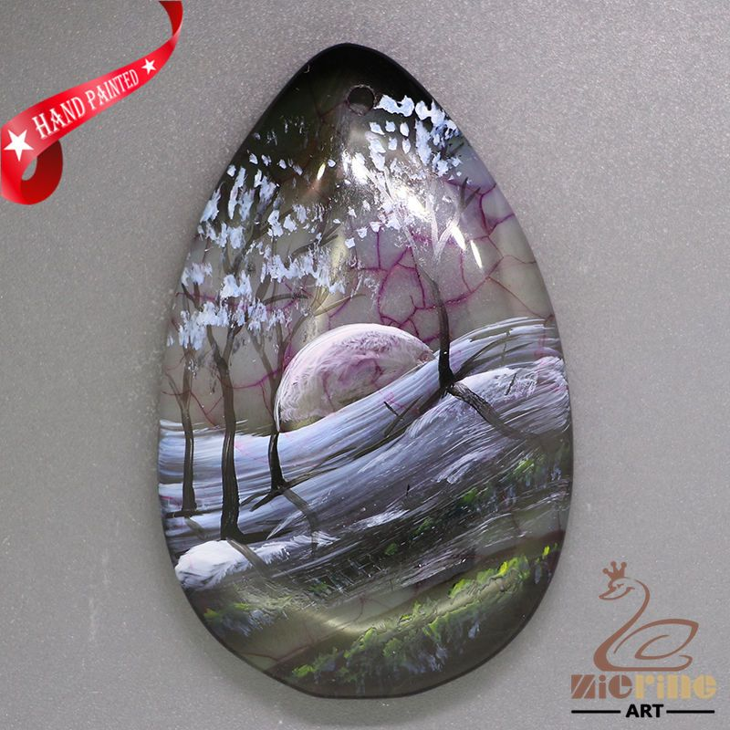 New Fashion Pendant Hand Painted Scenery  Natural Gemstone   ZL805658 #ZL #Pendant