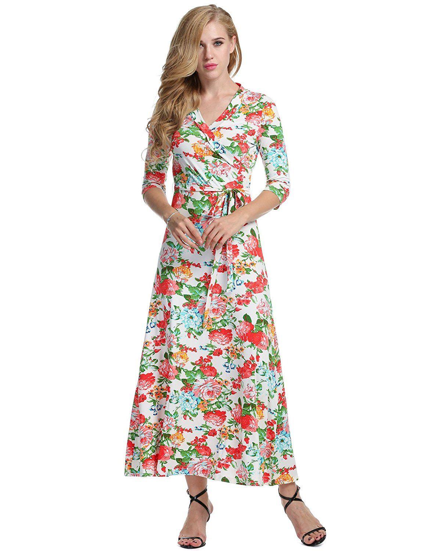 Meaneor Damen Maxi Kleider 3/4 Ärmel V-Ausschnitt Taillierter ...